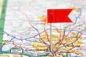 Ohio destination travel images Cincinnati ohio red flag pin in an old map showing travel jpg