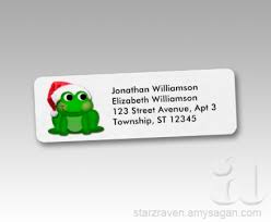 santa hat frog return address labels