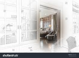 sketch design luxury bedroom view walk stock photo 377672731