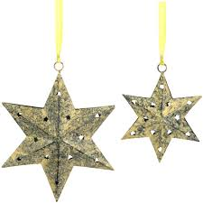 six point yellow ornaments from india fair trade handmade
