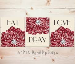 eat pray love art dining room wall decor kitchen art print set