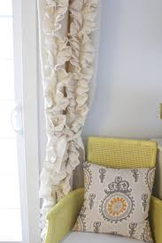 Yellow Ruffle Curtains by Remodelaholic How To Sew Ruffled Burlap Curtains
