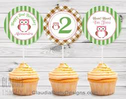 owl birthday party owl cupcake toppers owl birthday party and baby shower set 12