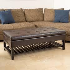 storage ottoman bench brown miriam wood rectangle storage ottoman bench with bottom rack by
