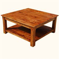 square wood coffee table for natural ambience of living room