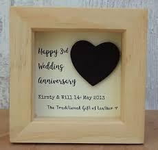 3rd wedding anniversary 3rd wedding anniversary leather gift personalised script frame