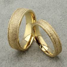Gold Wedding Rings by New Frosted Couple Lovers Ring 18k Gold Engagement Wedding Rings
