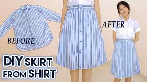 diy turn old shirt into skirt button front a line midi skirt