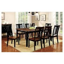 sun u0026 pine 9pc curved edge dining table set wood cherry and black