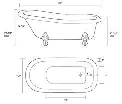 Width Of Standard Bathtub Restoria Ambassador Classic Slipper Clawfoot Tub