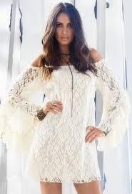 women white lace long bell sleeve off shoulder shirt mini