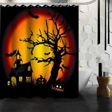 halloween lace curtains amazon com halloween decor shower curtains fashion custom happy