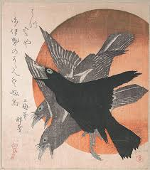 totoya hokkei three crows against the rising sun from the