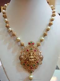 gold pearl mala with lakshmi pendant pearl jewellery designs