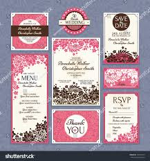 Wedding Invitations And Thank You Cards Set 2 Wedding Cards Wedding Invitations Stock Vector 146601410