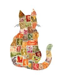 autumn cat postage stamp collage collection of postage stamps