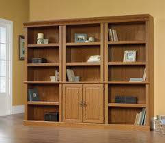furniture cool wood sauder bookcase design with white glass door