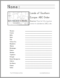 southern european countries in abc order worksheet student handouts