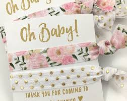 girl baby shower favors modern pink baby shower hair tie favors pink black gold
