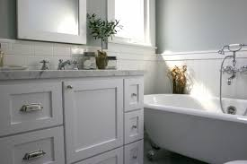 Sarah Richardson Bathroom Ideas by Bathroom Vanity Marble Countertop Gray Green Walls Subway Tiles