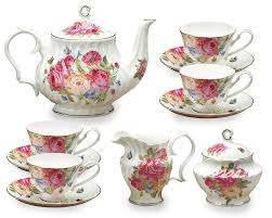 amazon tea amazon com gracie bone china 11 piece tea set pink sandra u0027s