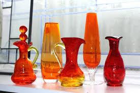 Vintage Orange Glass Vase Mercury Glass Bud Vase Vintage Orange And White Swirl Slag Glass
