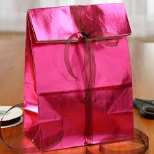 pink gift bags hot pink metallic paper gift bag gift bags favor bags party