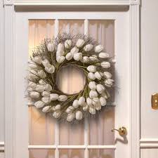 decorative wreaths for the home national tree company 24 in white tulip wreath ras hy55724w w1