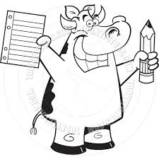 cartoon cow student black and white line art by kenbenner toon