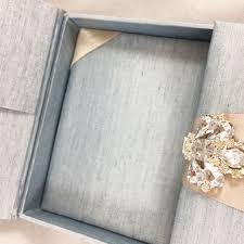 Custom Invitation Mystic Blue Custom Invitation Box With Luxury Diamond Clasp