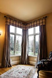 Elegant Window Treatments by Corner Windows With Masculine Window Treatment Interior Design