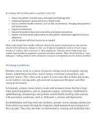 roles and responsibilities of geriatric nursing