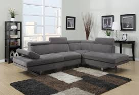 Gray Microfiber Sectional Sofa Generation Trade Calais Collection Contemporary Gray Microfiber