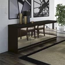 manhattan comfort viennese 6 shelf mirrored buffet in black matte