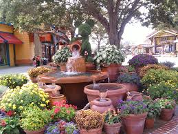 Florida Landscaping Ideas by Downtown Disney Container Garden Ideas With Fountain Florida