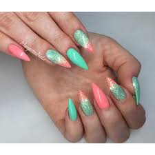 coral and mint stiletto nails spring nail art margaritasnailz