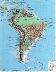 Topographic Map Of The United States by Map Of South America