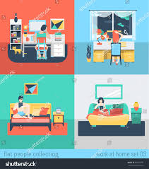 set young man woman home office stock vector 297615293 shutterstock