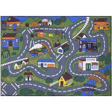 ottomanson jenny collection grey road traffic design 5 ft x 6 ft