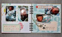 ultrasound photo album pregnancy scrapbook mini album kraft gold teal blue aqua green