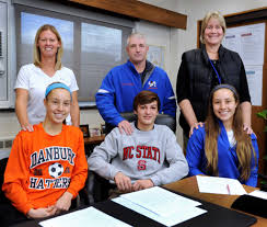 Letter Of Intent To Play College Sports by Three Danbury High Athletes Sign With Division I Programs Newstimes