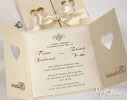 Wedding Invitations With Ribbon Wedding Invitations Day Heart Cream Gatefold Satin Ribbon Laser