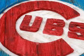 Baseball Home Decor Chicago Cubs Handmade Distressed Wood Sign Vintage Art