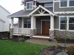 Home Exterior Decor Exterior Stackable Stone Design With White House With Grey Trim