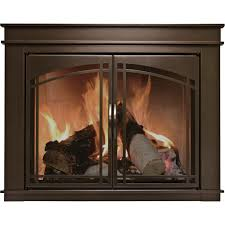 pleasant hearth fenwick fireplace glass door u2014 bronze for 36in
