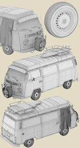 hippie volkswagen drawing artem yuldashev vw t2 hippie van