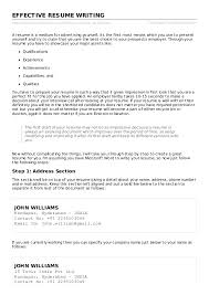 Effective Resume Writing Samples by Effective Resume Writing