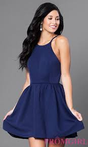 short open back navy blue party dress promgirl