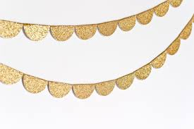 Garland by Scalloped Glitter Garland Gold Made To Order