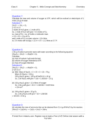 mole concept and stoichiometry solutions for icse board class 10